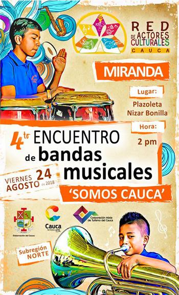 """Se acerca el IV Encuentro de Bandas Musicales """"Somos Cauca"""" Subregión Norte, en Miranda"""