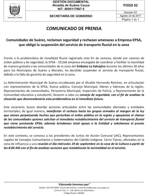 Tras retención de operarios y amenazas, suspenden transporte fluvial en La Salvajina