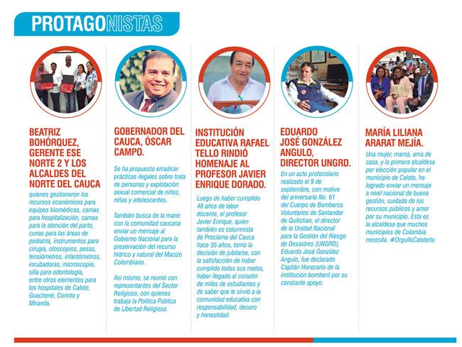 Protagonistas Proclama del Cauca Septiembre de 2018