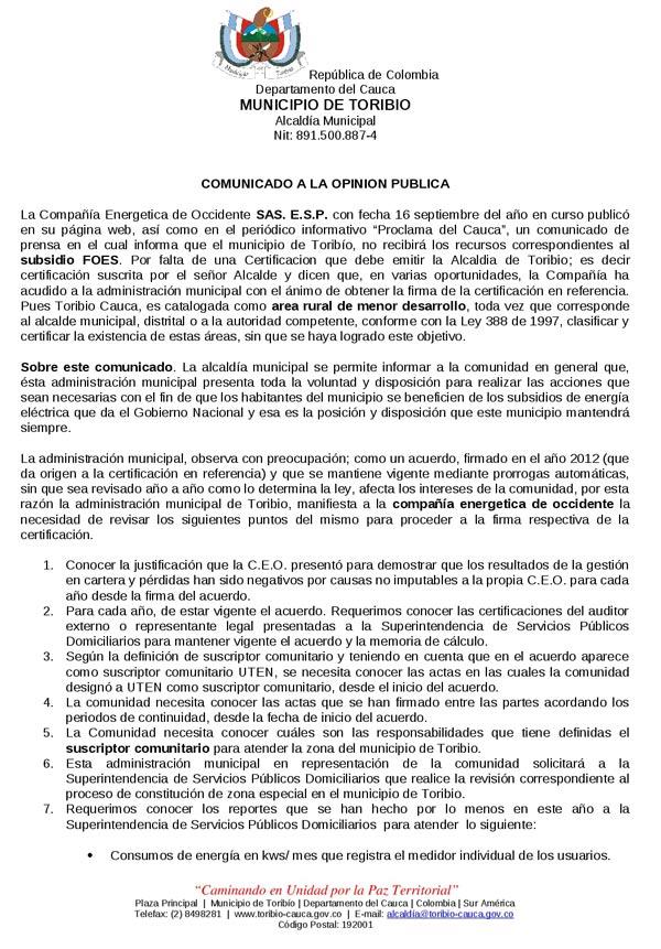 COMUNICADO A LA OPINIÓNPUBLICA ALCALDÍA DE TORIBÍO