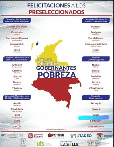 Gobernación del Cauca y Jambaló nominados a Mejores Gobiernos