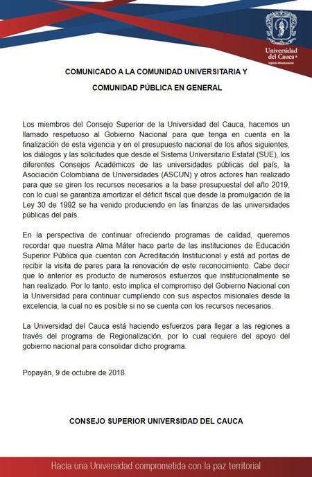 Unicauca y Gobernación piden ayuda por desfinanciamiento de la universidad