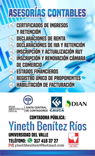 Asesorías Contables - Yineth Benítez Ríos - Contadora Pública