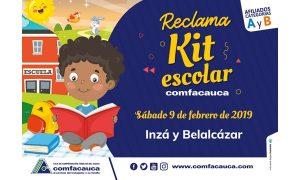 entrega del kit escolar Comfacauca en Inzá y Páez