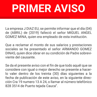 Clasificado edicto Miguel Ángel Gómez Mina