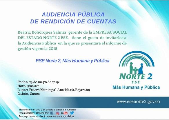 Invitación Pública a Rendición de Cuentas 2018 de la E.S.E. Norte 2