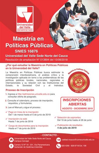 ¿Por qué estudiar la Maestría en Políticas Públicas en la Univalle sede norte del Cauca?