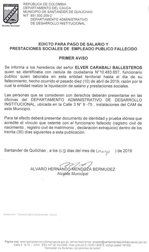 Primer Aviso - Edicto para pago de prestaciones empleado público fallecido de la Alcaldía de Santander de Quilichao
