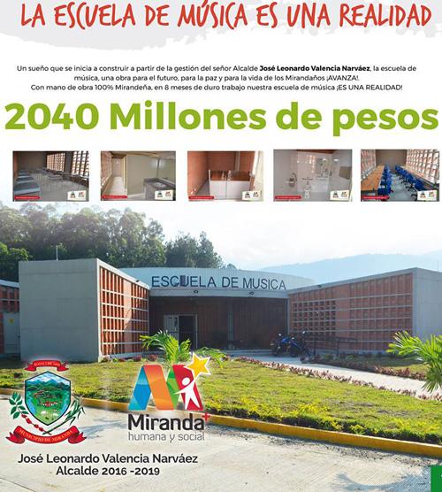Miranda estrena la primera Escuela de Música construida en el Cauca