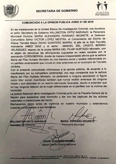 María del Pilar Hurtado, comunicado