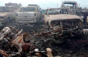 Incendio en parqueadero dejó 110 vehículos calcinados