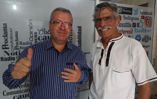 Candidato a la alcaldía de Caldono, Paulo Germán Porras y el director de Proclama del Cauca, Alfonso Luna Geller