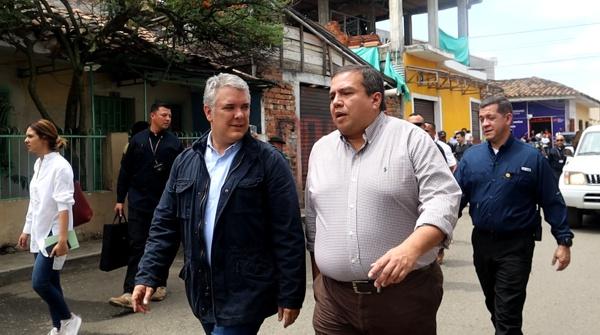 Iván Duque, presidente de la República; Óscar Campo, gobernador del Cauca.