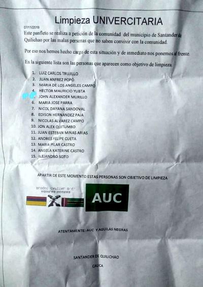 Denuncian amenazas contra universitarios de Quilichao