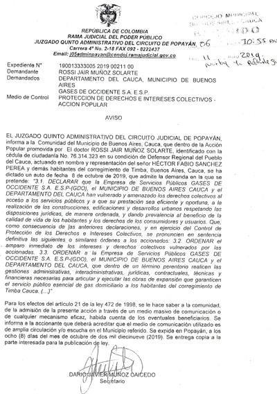 Edicto Acción popular, protección de derechos colectivos Buenos Aires