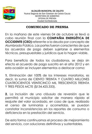Se realizó convenio entre CEO y Caloto