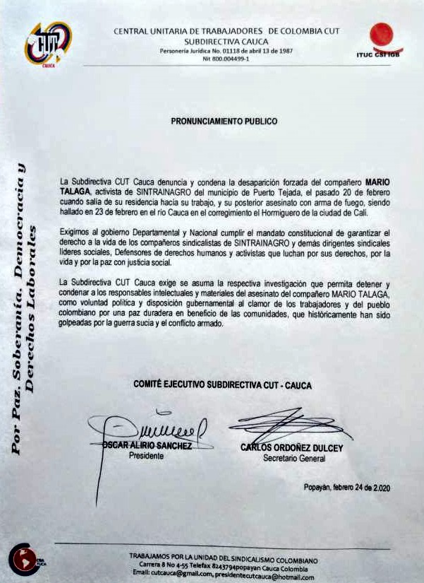 Continúa genocidio en el norte del Cauca