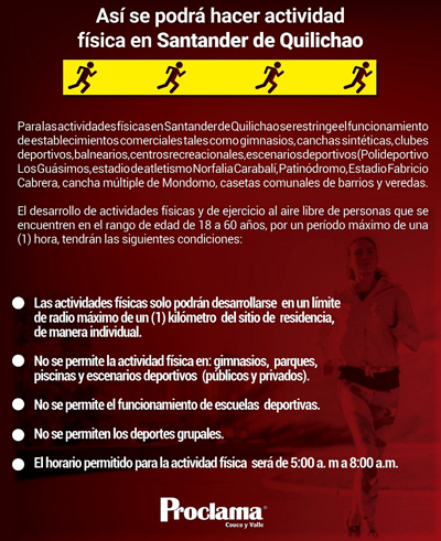 Así se podrá hacer actividad física en Santander de Quilichao