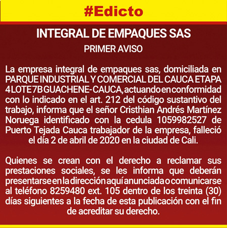 Integral de Empaques SAS informa