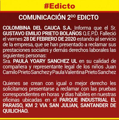 Segundo edicto Colombina del Cauca S.A.