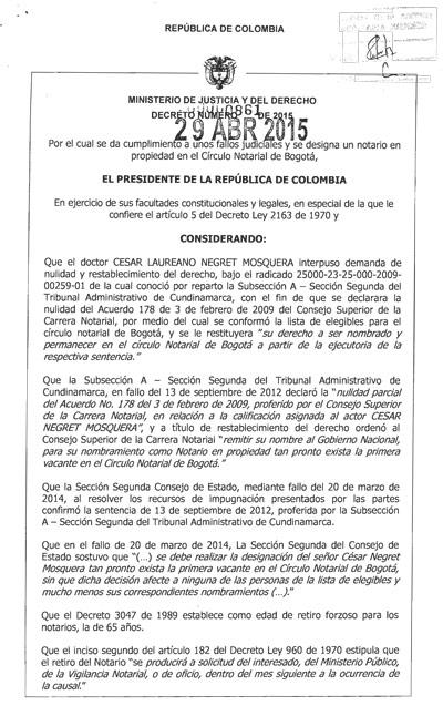 Decreto 0861 del 29 de abril del 2015