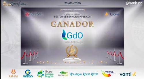 Gases de Occidente ganó premio Andesco a la Sostenibilidad