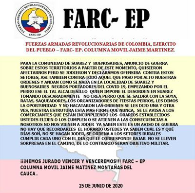 Panfleto disidencias FARC