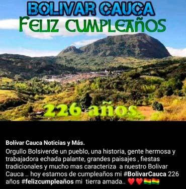 BOLÍVAR, CAUCA, 226 AÑOS: EMPORIO HISTÓRICO DEL SUR