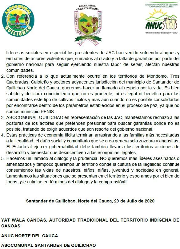 Comunicado Organizaciones Sociales sobre enfretamientos entre fuerza pública y comunidad en Quilichao