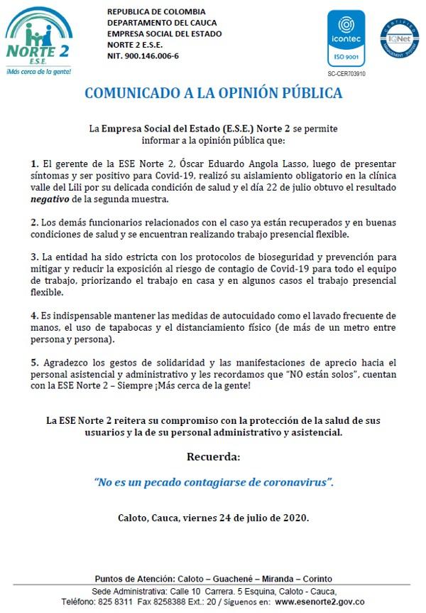Comunicado a la Opinión Pública de la ESE Norte 2 sobre recuperación del gerente Óscar Angola