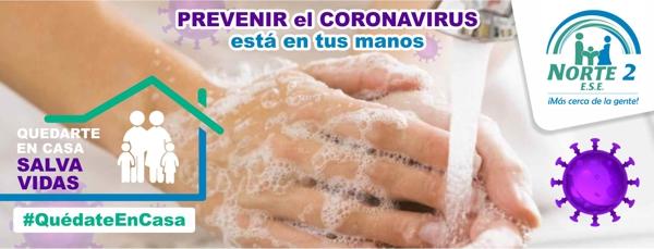 Prevenir el Coronavirus empieza por tus manos - ESE Norte 2