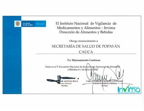 Reconocimiento del INVIMA a la Secretaría de Salud Municipal