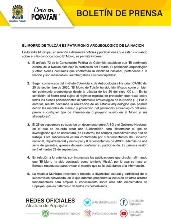 Boletín de Prensa - Alcaldía de Popayán - Morro de Tulcán