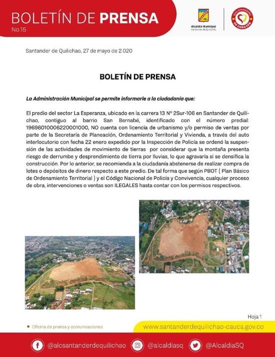 Boletín de Prensa Alcaldía de Santander de Quilichao sobre la Loma de Santa Inés