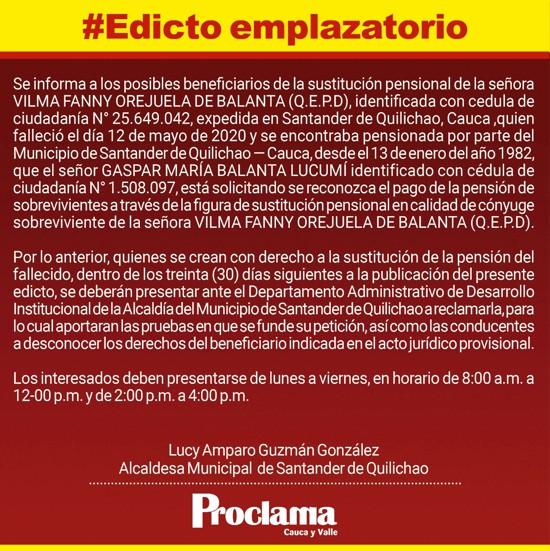 Edicto Emplazatorio - Fallecimiento de Vilma Fanny Orejuela de Balanta