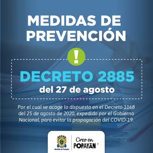 Medidas de Prevención Decreto 2885 del 27 de agosto de 2020 en Popayán