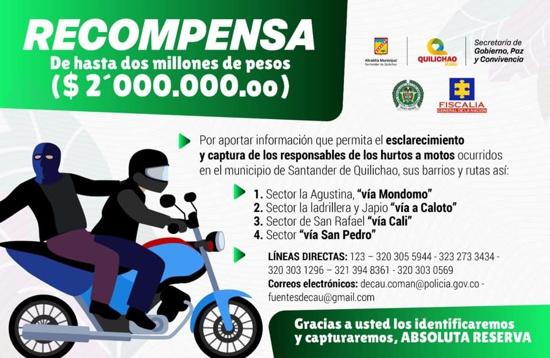 Ofrecen recompensa en Quilichao para capturar ladrones de motos