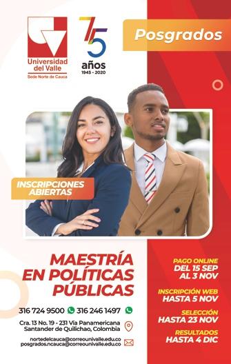 Universidad del Valle - Sede Norte del Cauca - 75 Años - Maestría en Políticas Públicas