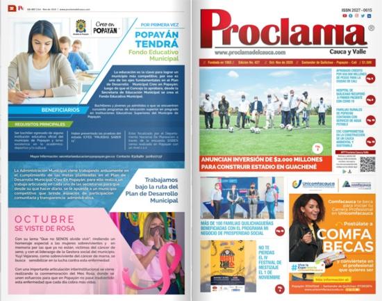En circulación la Edición Impresa #427 de Proclama Cauca y Valle