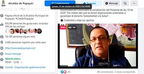 """Buen balance en el Foro virtual """"Popayán aporta ideas a la Reforma del Sistema de Salud"""""""