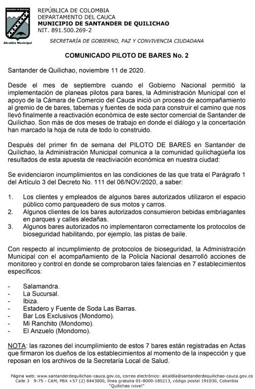 Comunicado sobre cumplimiento del Piloto de Bares en Santander de Quilichao