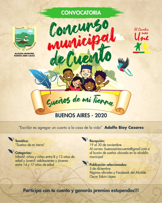 """Alcaldía invita a participar en Concurso de Cuento """"Sueños de mi Tierra"""""""