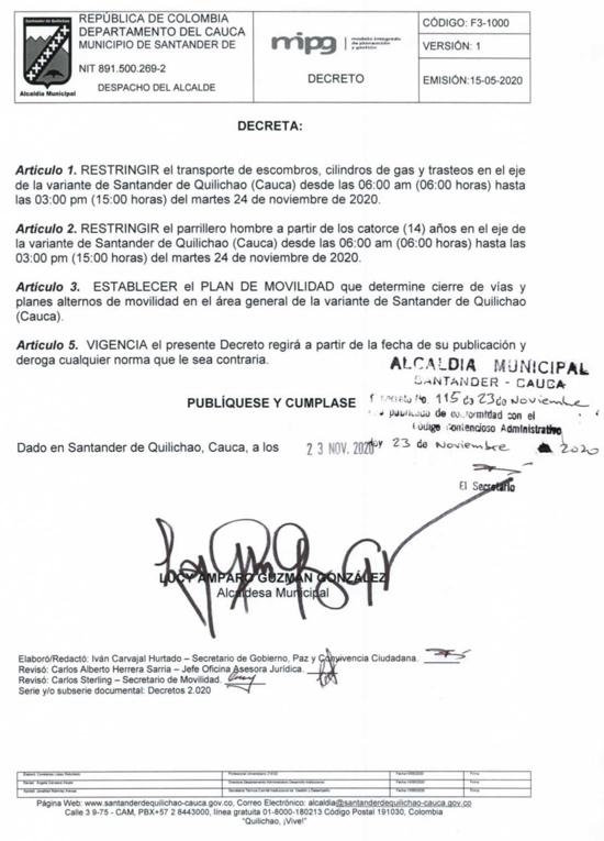 Decreto No. 115 del 23 de noviembre del 2020 - Alcaldía Santander de Quilichao