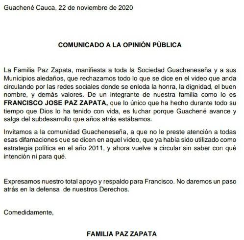 En Guachené rechazan publicación video refrito