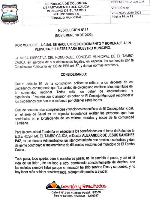 Gerente de la ESE Suroccidente recibió reconocimiento del Concejo de El Tambo.