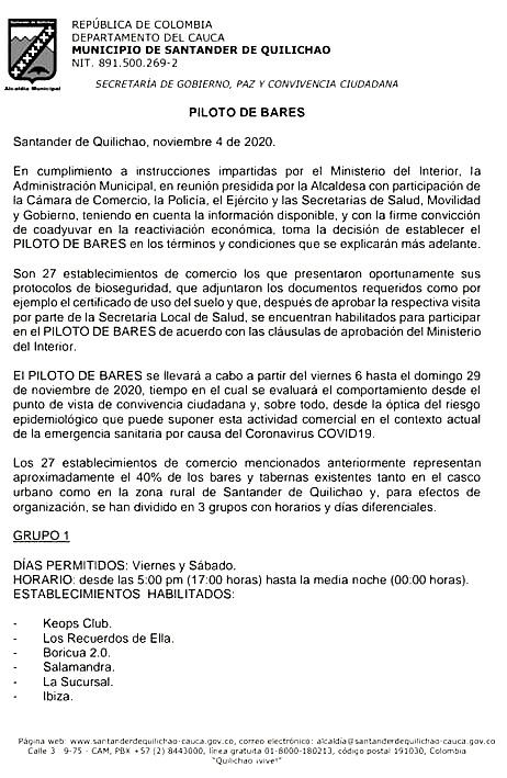 PILOTO DE BARES EN SANTANDER DE QUILICHAO