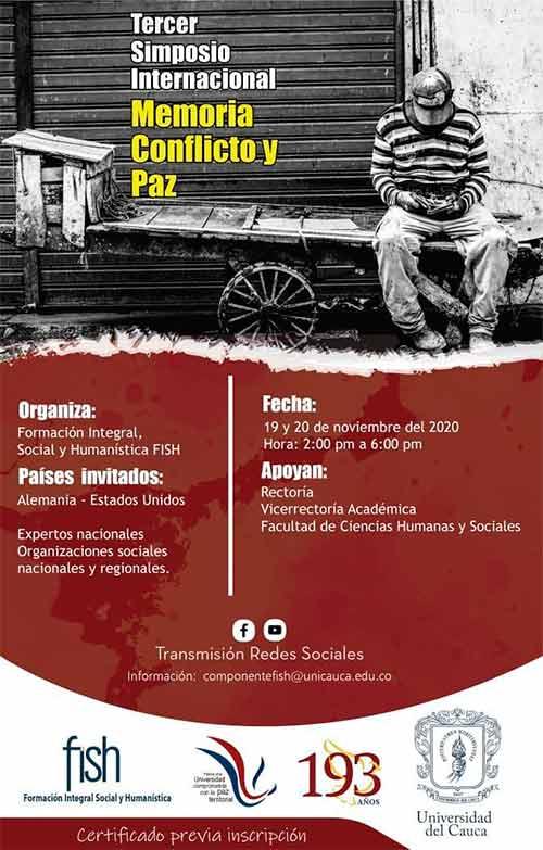 Unicauca realizará III Simposio Internacional Memoria, Conflicto y Paz 2020