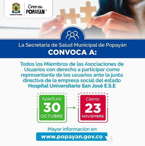 Convocatoria a Asociaciones de Usuarios para participar como representante de los Usuarios ante la Junta Directiva de Hospital Universitario San José ESE