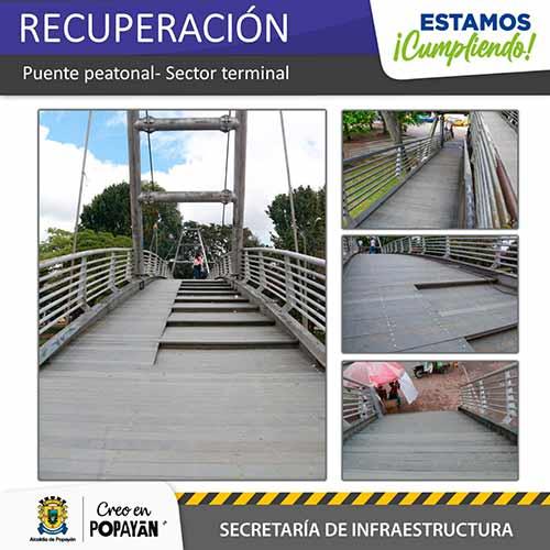 Alcaldía de Popayán recuperó el puente del terminal