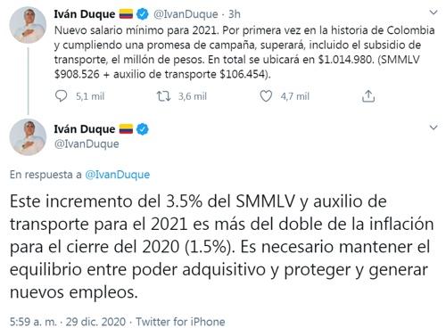 Salario mínimo 2021 - Iván Duque Márquez - Presidencia